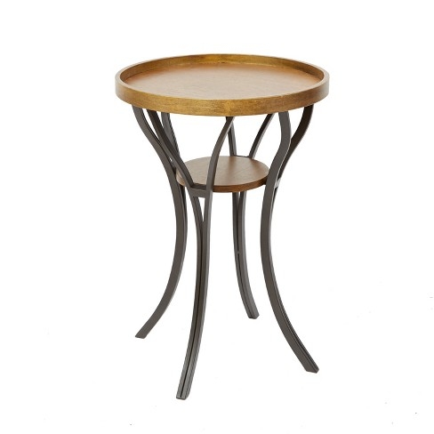 Leo Wood Accent Table with Sweeping Metal Legs Gunmetal and Wood - Silverwood - image 1 of 1