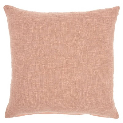 """18""""x18"""" Solid Woven Cotton Square Throw Pillow Pink - Mina Victory"""