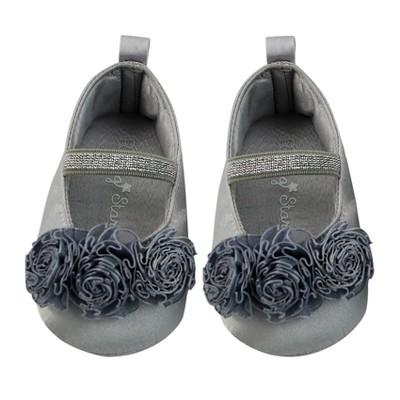 Baby Girls' Rising Star Flower Dress Shoes - Gray 3-6M