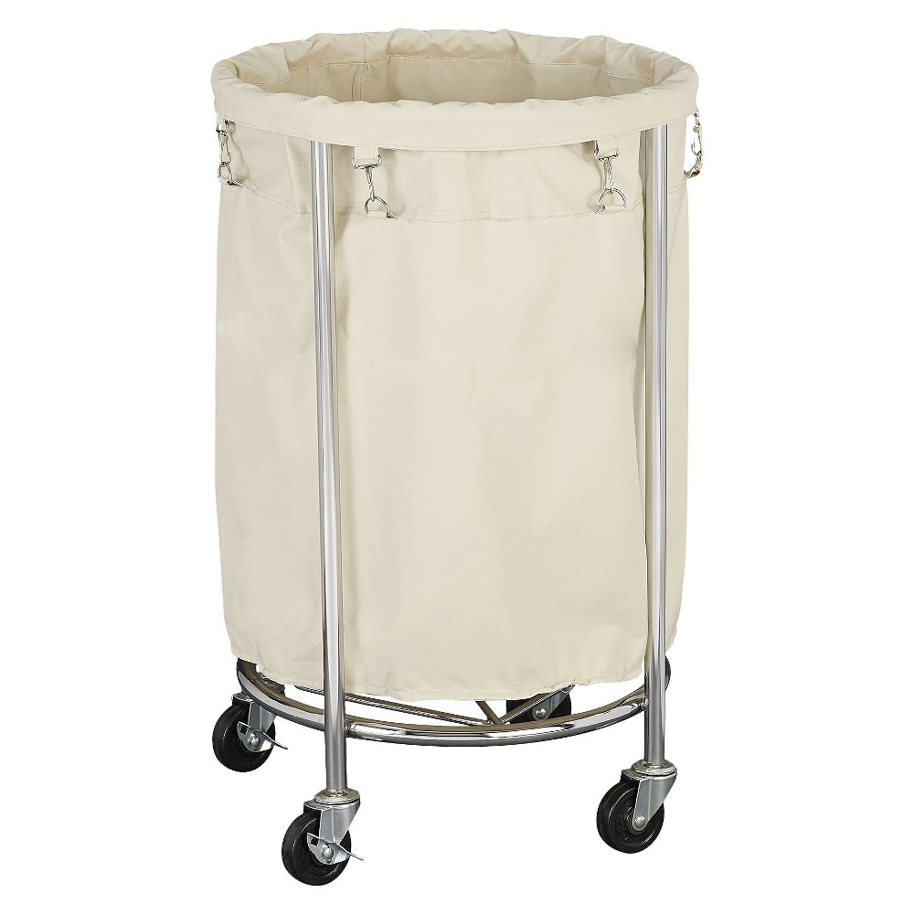 Image of Household Essentials Round Laundry Hamper with Removable Bags - White