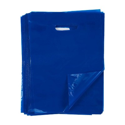 Blue Panda 100 Pack Blue Plastic Medium Merchandise Bags with Handles for Retail Shopping, Party Favors