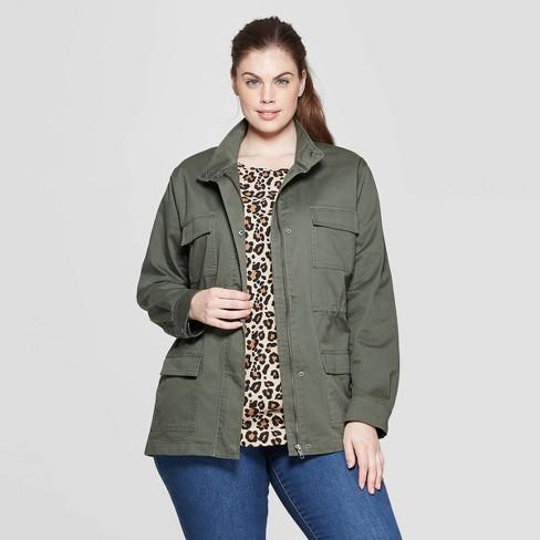 d7a8ea865cff6 Women s Plus Size Military Jacket - Ava   Viv™ Olive 3X   Target