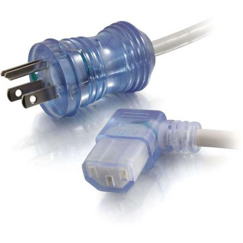 C2G 2ft 16 AWG Hospital Grade Power Cord (NEMA 5-15P to IEC320C13R) - Gray with Clear Connectors - 125 V AC / 13 A - Gray - image 1 of 4