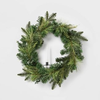 """26"""" Prelit LED Faux Candle Mixed Greenery Artificial Pine Christmas Wreath - Wondershop™"""