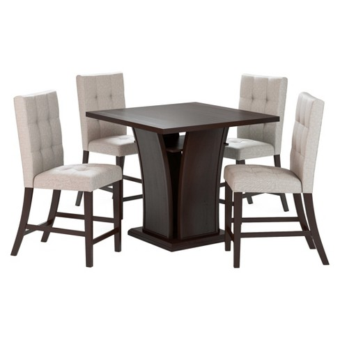 Bistro 5 Piece Counter Height Cappuccino Dining Set - Tufted Platinum Sage - CorLiving - image 1 of 4