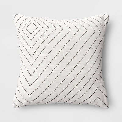 Diamond Stitched Square Throw Pillow Cream - Project 62™