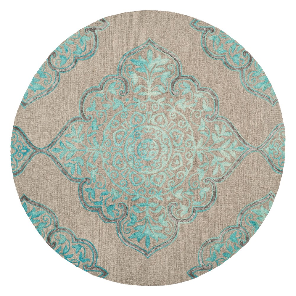 7' Medallion Tufted Round Area Rug Gray/Turquoise - Safavieh
