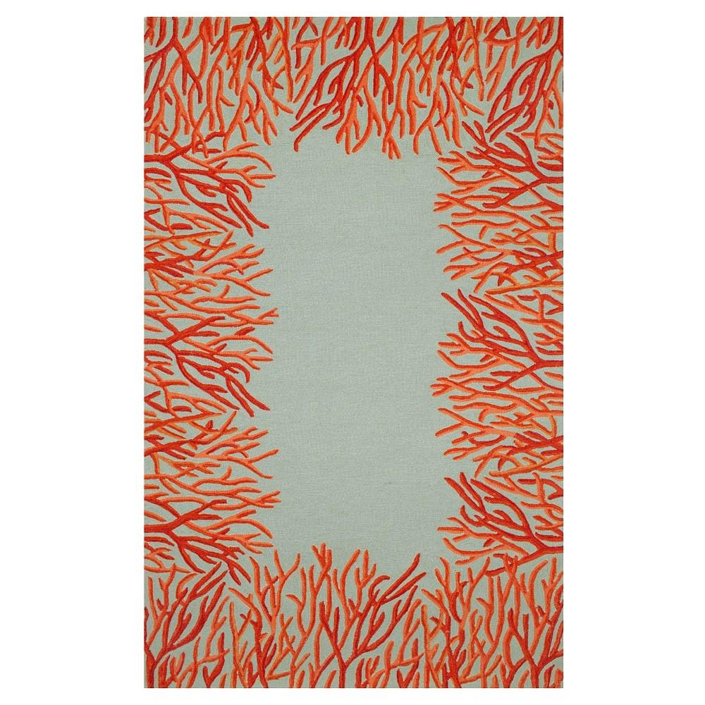 Liora Manne Spello Coral Border Indoor/Outdoor Area Rug - Blue (5'X7'6), Orange