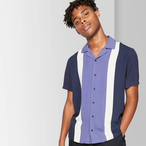 Men's Printed Short Sleeve Colorblock Button-Down Shirt - Original Use™ - Purple Majesty - image 1 of 3