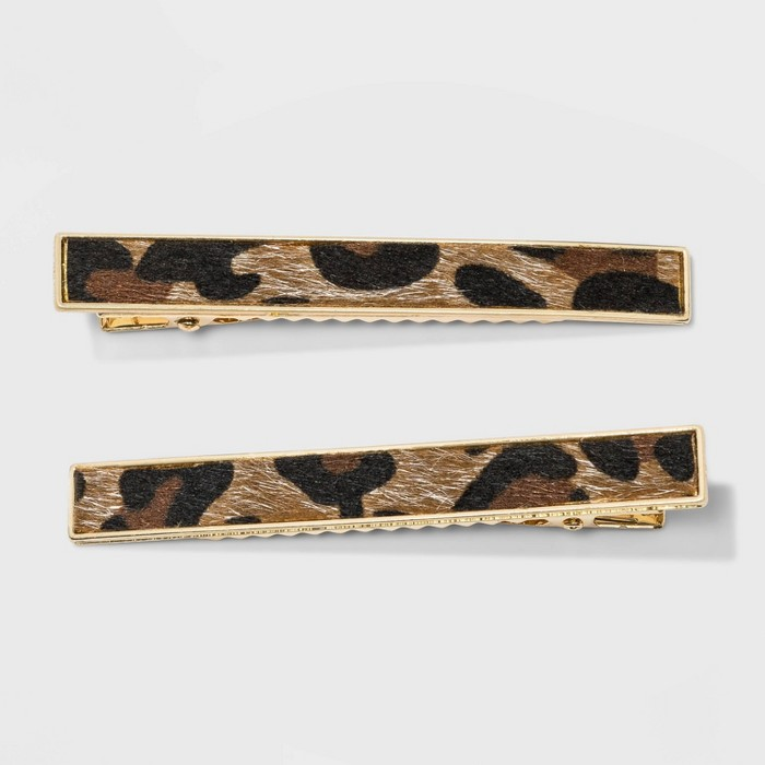 Leopard Print Salon Clips 2pc - A New Day™ Brown - image 1 of 1