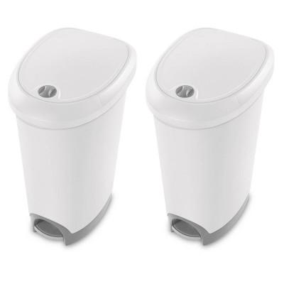 Sterilite 12.6 Gallon Locking StepOn Wastebasket, White (2 Pack) 10738002