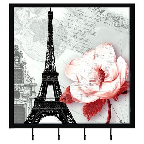 Paris Flower Decorative Box With Metal Hooks - image 1 of 1