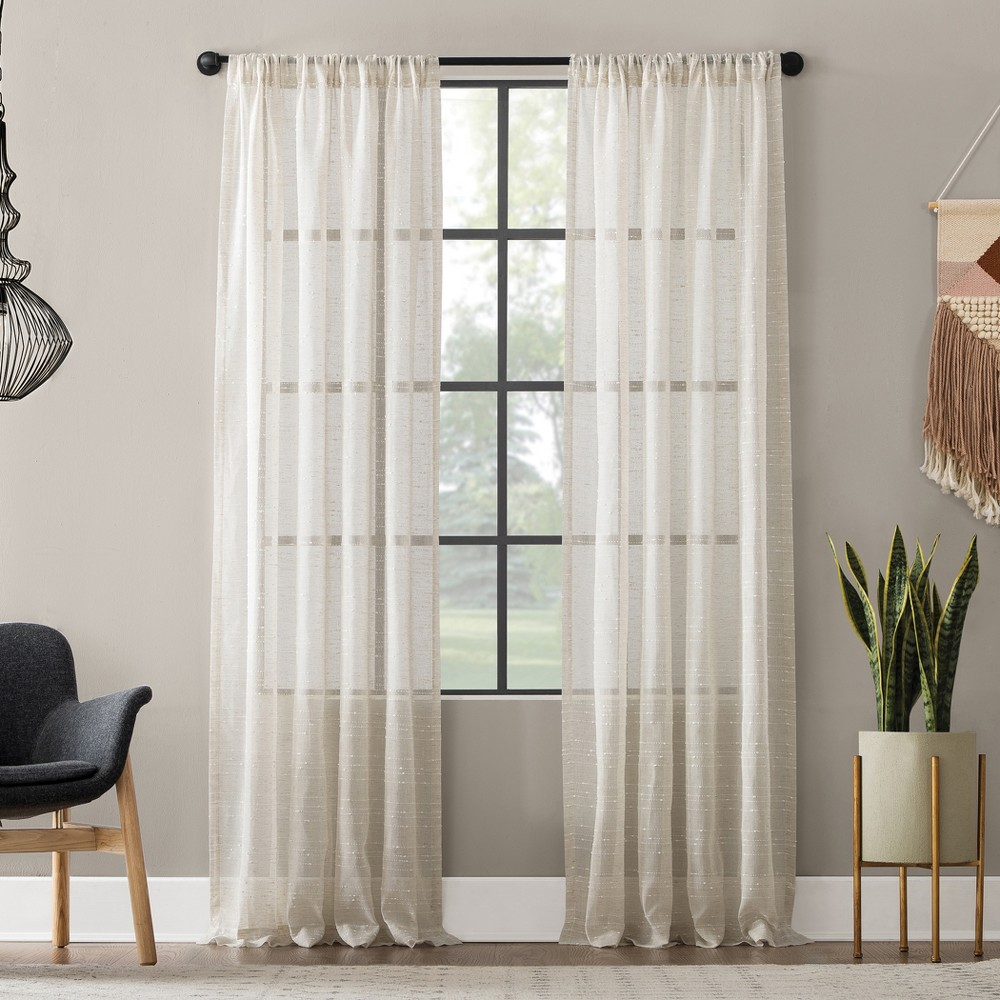 "Image of ""52""""x63"""" Textured Slub Stripe Anti-Dust Curtain Panel Linen - Clean Window"""