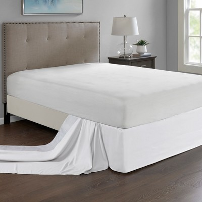 White Simple Fit Wrap Around Adjustable Bed Skirt