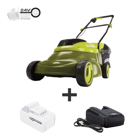 Sun Joe MJ24C-14-XR 24-Volt iON+ Cordless Brushless Lawn Mower Kit   14-Inch   W/ 5.0-Ah Battery and Charger - image 1 of 4