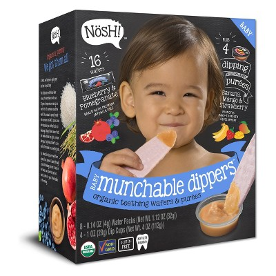 Nosh Baby Munchable Dippers - Blueberry & Pomegranate Wafers with Banana, Mango & Strawberry Puree- 16ct with 4 Dip Cups