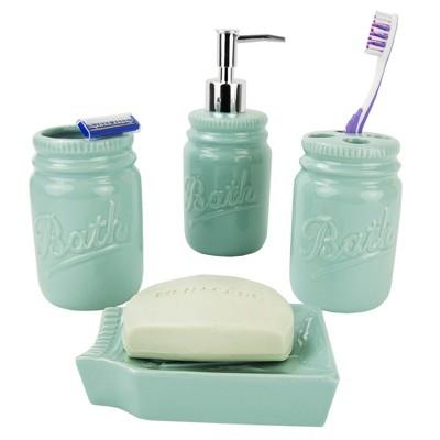 Home Basics 4 Piece Dolomite Mason Jar Bath Set