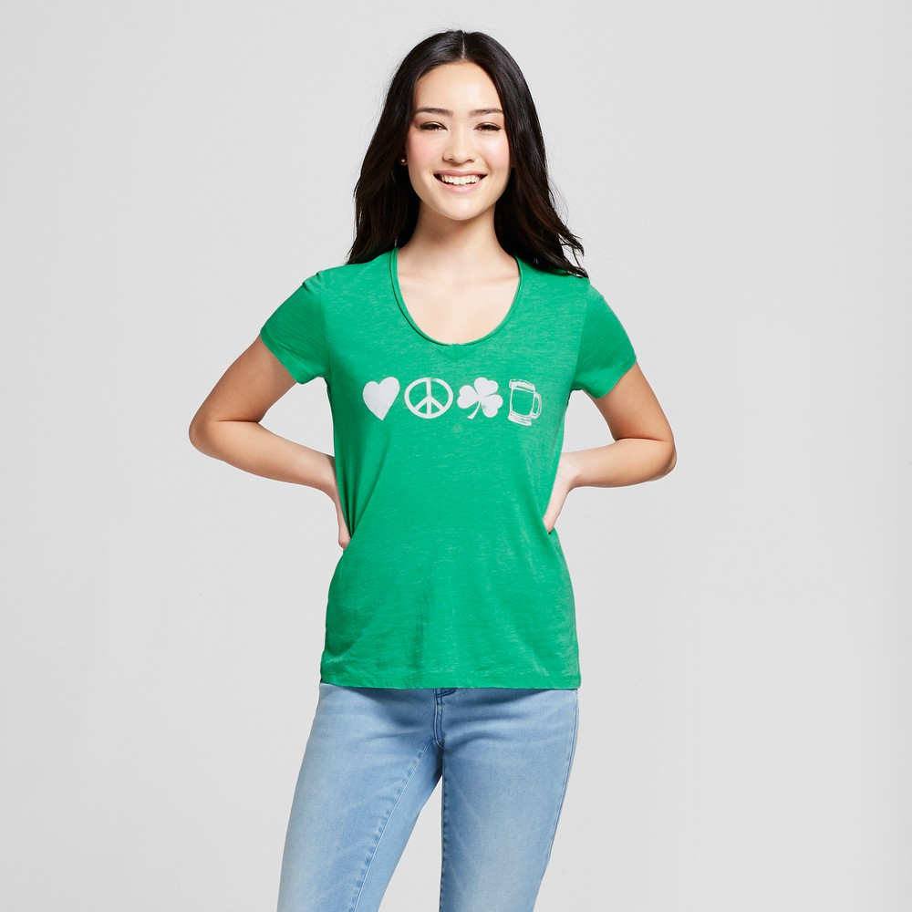 Women's St. Patrick's Day Clover Printed Short Sleeve V-Neck Graphic T-Shirt - Grayson Threads (Juniors') - Green Xxl