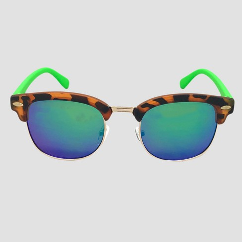 Boys' Tortoise Clubmaster Sunglasses - Cat & Jack™ Green One Size - image 1 of 2