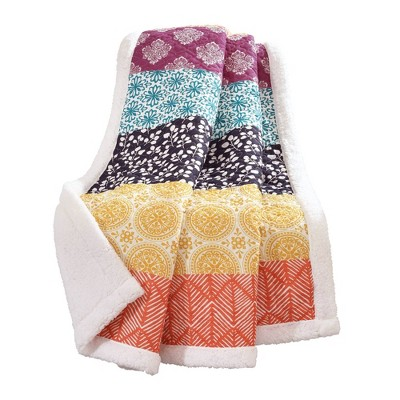 "50""x60"" Bohemian Striped Sherpa Throw Blanket Fuschia/Orange - Lush Décor"