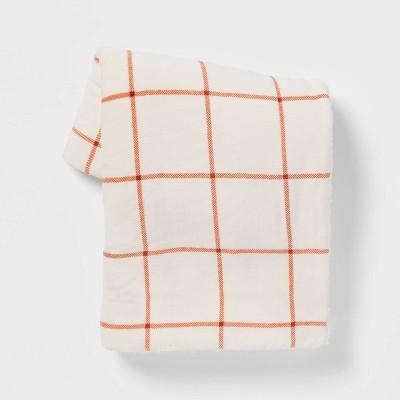 Windowpane Printed Plush Throw Blanket with Sherpa Reverse - Threshold™