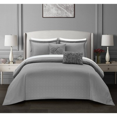 Queen 9pc Ellie Bed In A Bag Comforter Set Gray - Chic Home Design