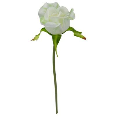 "Darice 9"" White and Green Artificial Short Single Stem Budding Rose Pick"