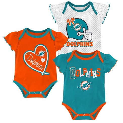 best service 87ffa 6ed1e NFL Miami Dolphins Baby Girls' Newest Fan 3pk Bodysuit Set - 3-6M
