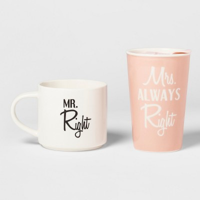 2pc Porcelain Mr. Right, Mrs. Always Right Traveler Set - Threshold™