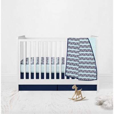 Bacati - Boys Triangles Aqua Navy 3 pc Crib Bedding Set