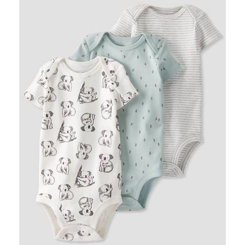 Baby 3pk Organic Cotton Koala Bodysuit - little planet by carter's White - image 1 of 4
