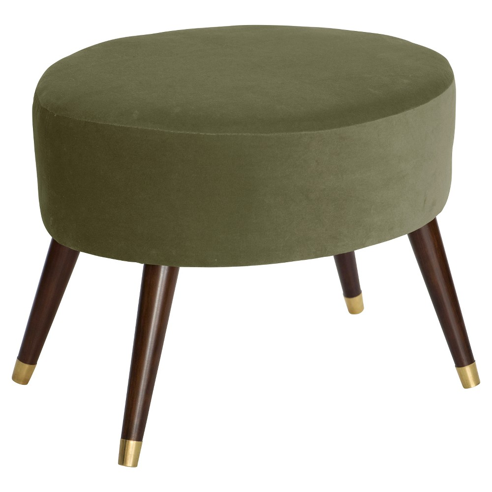 Farwell Oval Ottoman with Gold Caps Velvet Moss - Project 62