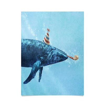 """18""""x24"""" Terry Fan Party Whale Unframed Wall Poster Print Blue - Deny Designs"""
