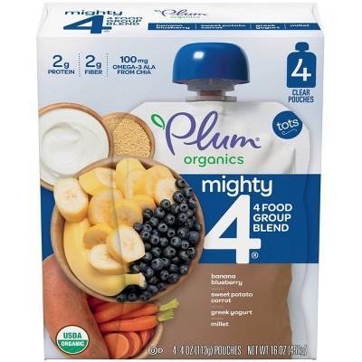 Plum Organics Mighty 4 Organic Banana Blueberry Sweet Potato Carrot Greek Yogurt & Millet Baby Food - (Select Count)