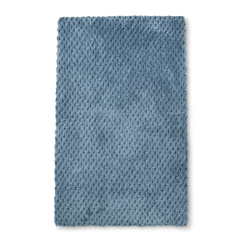 "Image of ""34""""x20"""" Tufted Accent Bath Rug Dusty Blue - Fieldcrest"""