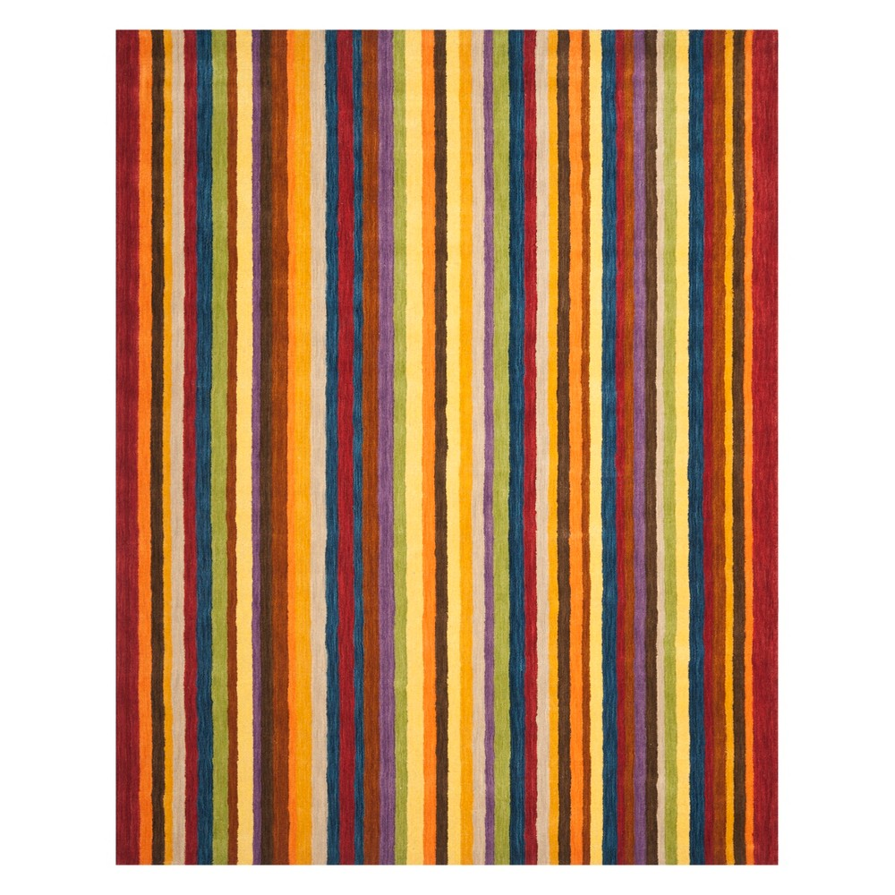 Stripe Loomed Area Rug Red