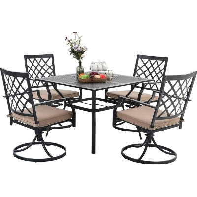"5pc Patio Set with 37"" Metal Gridded Table & Swivel Arm Chairs - Captiva Designs"