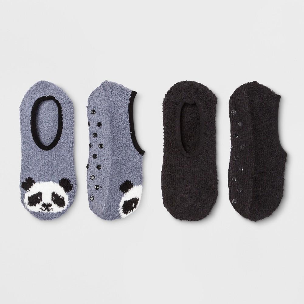 Women's Panda Cozy Liner 2pk Socks - Gray One Size