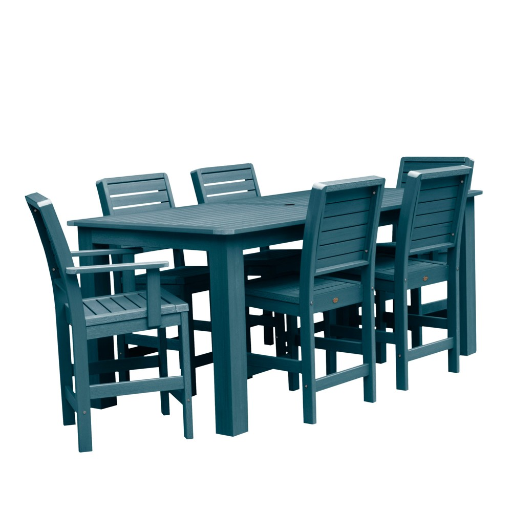 "Image of ""7pc Weatherly 84"""" Rectangular Counter Patio Dining Set Nantucket Blue - highwood"""
