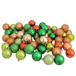 "Northlight 60ct Shatterproof 3-Finish Christmas Ball Ornaments 2.5"" - Green/Brown"