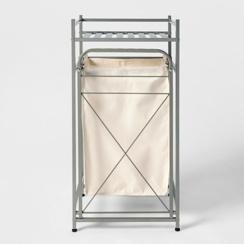 Square Tube Metal Laundry Hampers And Sorters Brushed Nickel Laundry Hampers And Sorters Brushed Nickel - Threshold™ - image 1 of 4