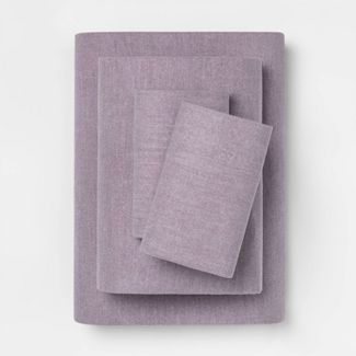 Full Solid Flannel Sheet Set Purple - Threshold™