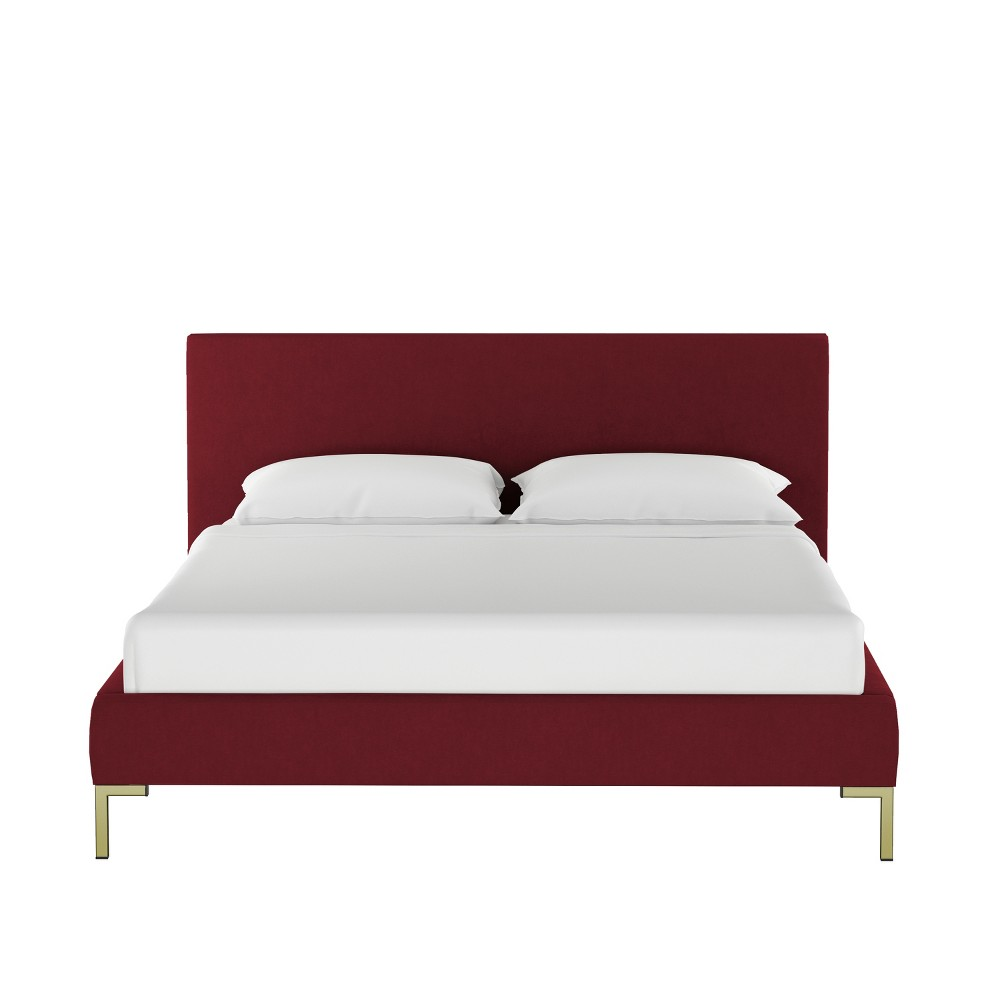 King Daisy Platform Bed with Brass Metal Y Legs Dark Berry Velvet - Cloth & Co.
