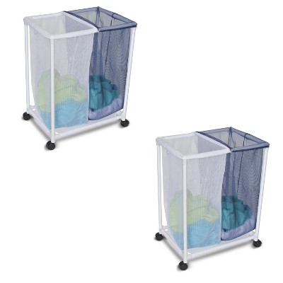Homz 4540010 6 Load Capacity Double Mesh Sorter Laundry Basket Portable Organizer Hamper with Removable Bags with Wheels, Blue and White (2 Pack)