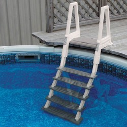 Confer Heavy-Duty Above-Ground Swimming Pool Ladder 46-56 Inches, Beige/Gray