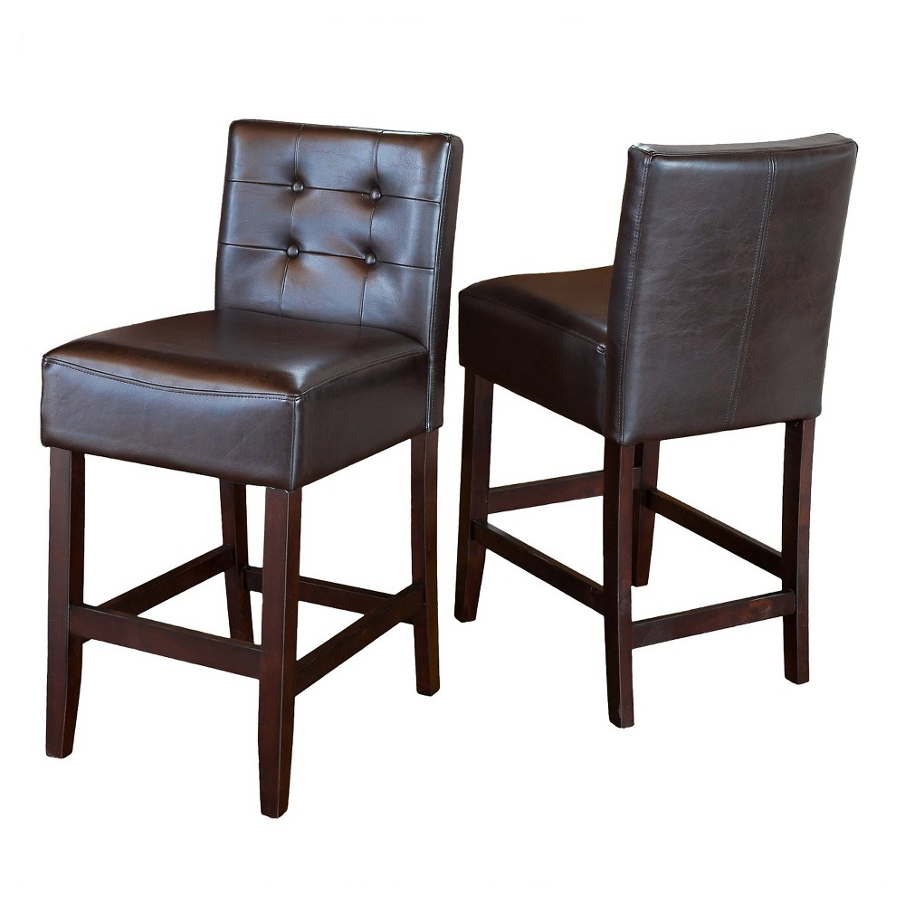 Tate Tufted 26 Leather Counter Stools (Set of 2) - Brown - Christopher Knight Home