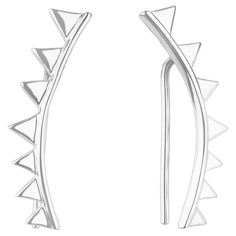 Women's Button Post Drop Earring Silver Plated Brass Rhodium Triangle Spike Crawler Left/Right - Silver - image 1 of 1