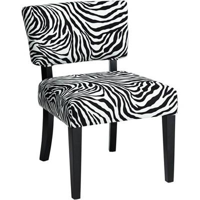 Studio 55D Zambia Zebra Print Accent Chair with Velvet Fabric
