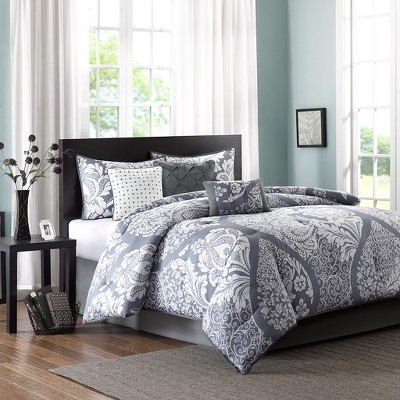 Adela 7 Piece Printed Comforter Set - Slate (King)