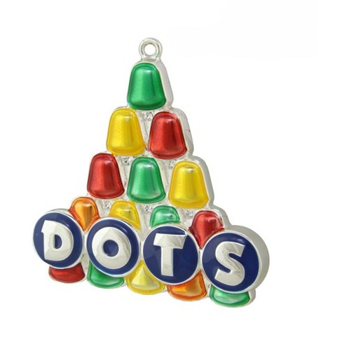 """Northlight 3"""" Silver Plated Dots Candy Logo with European Crystals Christmas Ornament - Red/Yellow - image 1 of 1"""